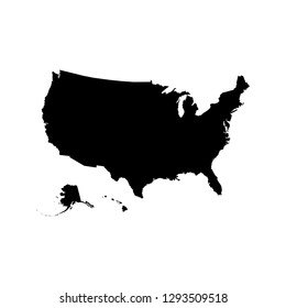 Vector isolated illustration icon of simplified political map USA (United States of America, including Alaska and Hawaii). Black silhouette. White background