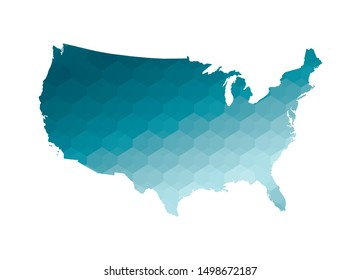 Vector isolated illustration icon with simplified blue silhouette of USA map. Polygonal geometric style. White background.