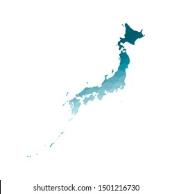 Vector isolated illustration icon with simplified blue silhouette of Japan map. Polygonal geometric style. White background.
