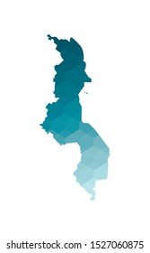 Vector isolated illustration icon with simplified blue silhouette of Malawi map. Polygonal geometric style. White background.