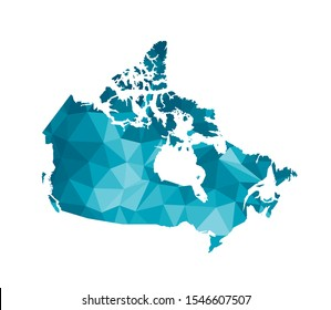 Vector isolated illustration icon with simplified blue silhouette of Canada map. Polygonal geometric style, triangular shapes. White background