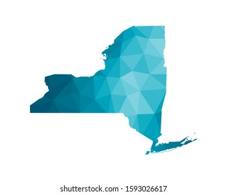 Vector isolated illustration icon with simplified blue silhouette of New York (state of the USA). Polygonal geometric style. White background