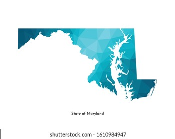Vector isolated illustration icon with simplified blue map's silhouette of State of Maryland (USA). Polygonal geometric style. White background.