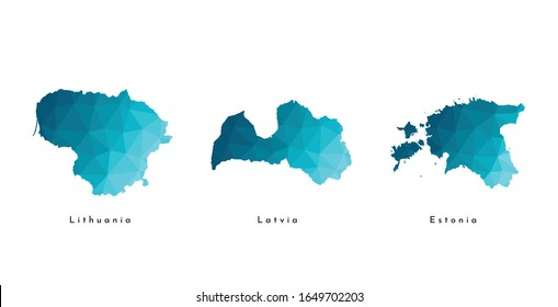 Vector isolated illustration icon with simplified blue maps of Baltic states - Estonia, Latvia, Lithuania. Polygonal triangular geometric style. White background.