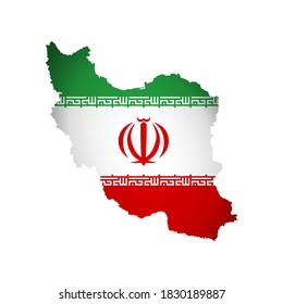 Vector isolated illustration with Iran national flag with shape of Islamic Republic of Iran map (simplified). Volume shadow on the map. White background