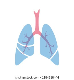 Vector isolated illustration of lung anatomy. Human respiratory system icon. Healthcare medical center, surgery, hospital, clinic, diagnostic logo. Internal donor organ symbol poster design. donation