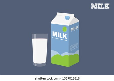 Vector Isolated Illustration of a Milk Box and a Glass of Milk