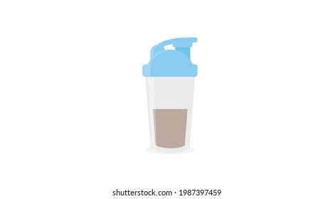 Vector Isolated Illustration of a Protein Shaker. Protein Shaker Flat Icon