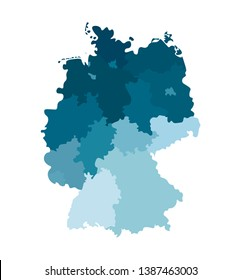 Vector isolated illustration of simplified administrative map of Germany. Borders of the states (regions). Colorful blue silhouettes. White background