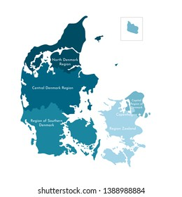 Vector isolated illustration of simplified administrative map of Denmark. Borders and names of the regions. Colorful blue silhouettes