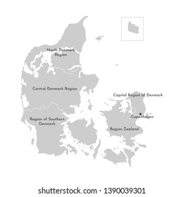 Vector isolated illustration of simplified administrative map of Denmark. Borders and names of the regions. Grey silhouettes, white outline