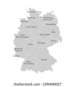 Vector isolated illustration of simplified administrative map of Germany. Borders and names of the states (regions). Grey silhouettes. White background