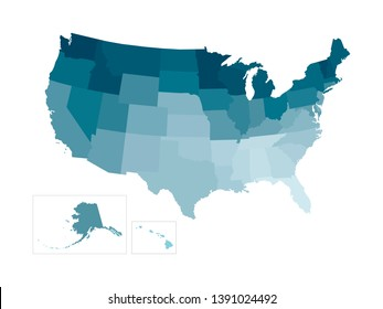 Vector isolated illustration of simplified administrative map of USA (United States of America). Borders of the states. Colorful blue khaki silhouettes