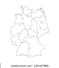 Vector isolated illustration of simplified administrative map of Germany. Borders of the states (regions). Black outline silhouettes. White background