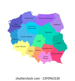 Vector isolated illustration of simplified administrative map of Poland. Borders and names of the regions. Multi colored silhouettes