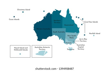 Vector isolated illustration of simplified administrative map of Australia. Borders and names of the regions. Colorful blue khaki silhouettes