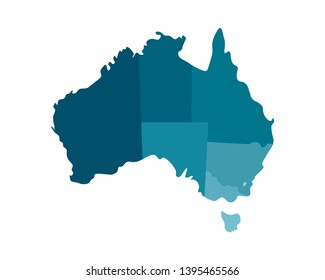 Vector isolated illustration of simplified administrative map of Australia. Borders of the regions including only nearest territories. Colorful blue khaki silhouettes.