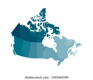 Vector isolated illustration of simplified administrative map of Canada. Borders of the regions. Colorful blue khaki silhouettes.