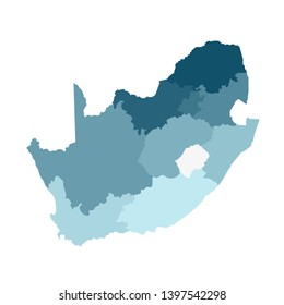Vector isolated illustration of simplified administrative map of South Africa. Borders of the regions. Colorful blue khaki silhouettes