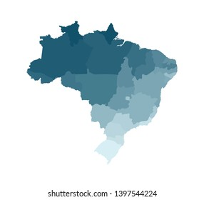 Vector isolated illustration of simplified administrative map of Brazil. Borders of the regions. Colorful blue khaki silhouettes