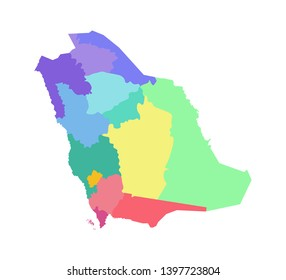 Vector isolated illustration of simplified administrative map of Saudi Arabia. Borders of the regions. Multi colored silhouettes