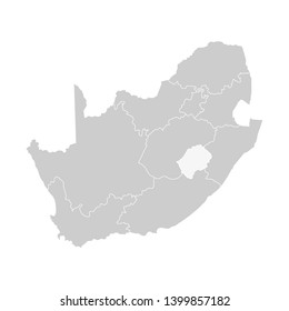 Vector isolated illustration of simplified administrative map of South Africa. Borders of the provinces (regions). Grey silhouettes. White outline