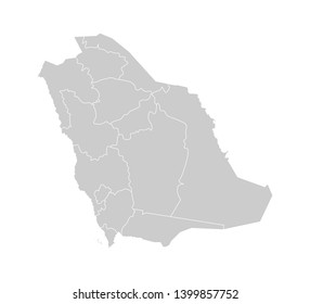 Vector isolated illustration of simplified administrative map of Saudi Arabia. Borders of the provinces (regions). Grey silhouettes. White outline.