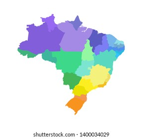 Vector isolated illustration of simplified administrative map of Brazil. Borders of the regions. Multi colored silhouettes