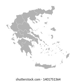Vector isolated illustration of simplified administrative map of Greece. Borders of the provinces (regions). Grey silhouettes. White outline