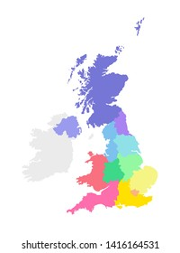 Vector isolated illustration of simplified administrative map of the United Kingdom of Great Britain and Northern Ireland. Borders of the regions. Multi colored silhouettes