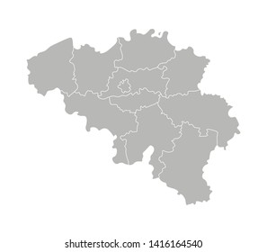 Vector isolated illustration of simplified administrative map of Belgium. Borders of the provinces (regions). Grey silhouettes. White outline.