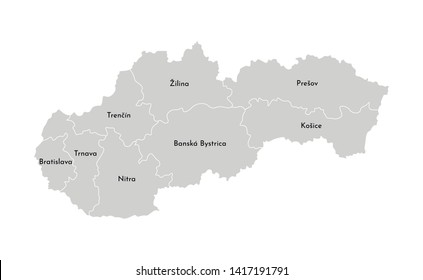 Vector isolated illustration of simplified administrative map of Slovakia. Borders and names of the provinces (regions). Grey silhouettes. White outline