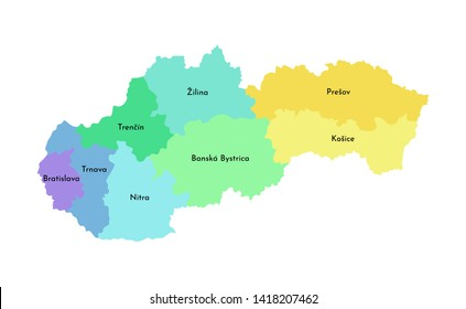 Vector isolated illustration of simplified administrative map of Slovakia. Borders and names of the regions. Multi colored silhouettes