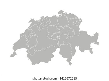 Vector isolated illustration of simplified administrative map of Switzerland. Borders of the provinces (cantons). Grey silhouettes. White outline