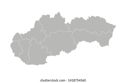Vector isolated illustration of simplified administrative map of Slovakia. Borders of the provinces (regions). Grey silhouettes. White outline