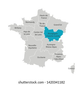 Vector isolated illustration of simplified administrative map of France. Blue shape of Bourgogne-Franche-Comté. Borders of the provinces (regions). Grey silhouettes. White outline