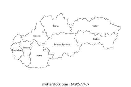 Vector isolated illustration of simplified administrative map of Slovakia. Borders and names of the regions. Black line silhouettes