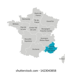 Vector isolated illustration of simplified administrative map of France. Blue shape of Provence-Alpes-Côte d'Azur. Borders of the provinces (regions). Grey silhouettes. White outline