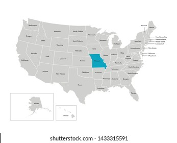Vector isolated illustration of simplified administrative map of the USA. Borders of the states with names. Blue silhouette of Missouri (state)