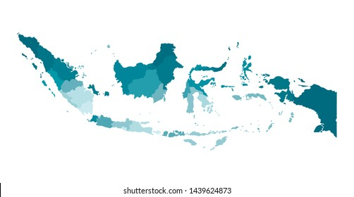 Vector isolated illustration of simplified administrative map of Indonesia. Borders of the provinces. Colorful blue khaki silhouettes.