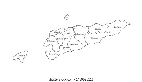 Vector isolated illustration of simplified administrative map of East Timor (Timor-Leste). Borders and names of the regions. Black line silhouettes.