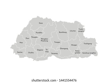 Vector isolated illustration of simplified administrative map of Bhutan. Borders and names of the districts (regions). Grey silhouettes. White outline