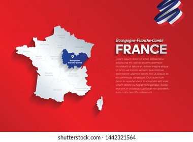 Vector isolated illustration of simplified administrative map and flag  of France. Blue shape of Bourgogne-Franche-Comté. Borders of the provinces (regions). Grey silhouettes.