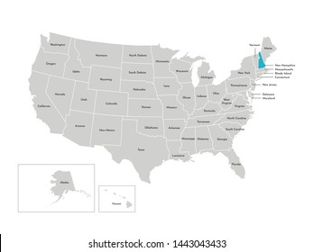 Vector isolated illustration of simplified administrative map of the USA. Borders of the states with names. Blue silhouette of New Hampshire (state)
