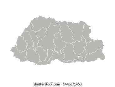 Vector isolated illustration of simplified administrative map of Bhutan. Borders of the districts (regions). Grey silhouettes. White outline.