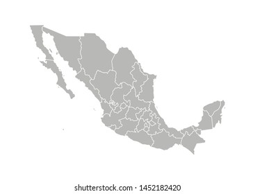 Vector isolated illustration of simplified administrative map of Mexico (United Mexican States). Borders of the provinces (regions). Grey silhouettes. White outline.