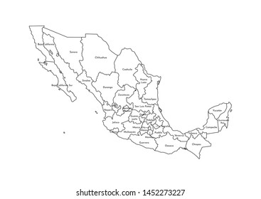Vector isolated illustration of simplified administrative map of Mexico (United Mexican States). Borders and names of the regions. Black line silhouettes.