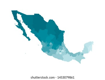 Vector isolated illustration of simplified administrative map of Mexico (United Mexican States). Borders of the regions. Colorful blue khaki silhouettes.