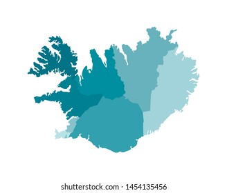 Vector isolated illustration of simplified administrative map of Iceland. Borders of the regions. Colorful blue khaki silhouettes.