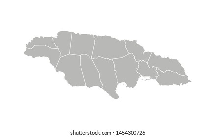 Vector isolated illustration of simplified administrative map of Jamaica. Borders of the parishes (regions). Grey silhouettes. White outline.